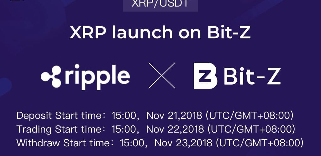 Hong Kong-based Crypto Exchange Bit-Z starts its XRP-USD Trading pair